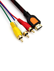 5 pies macho hdmi 1.5m a 3 RCA macho adaptador convertidor de cable de extensión para dvd hdtv