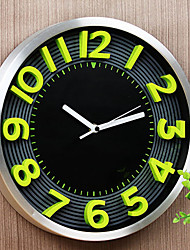 "Fashion/Modern 12"" Metal Round Wall Clock Mute Wall Clock Alloy Clock Fluorescent Green 3D Numbers Man's Home Decor"
