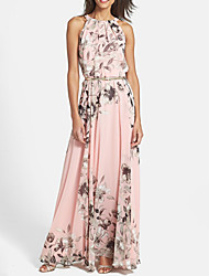 Women's Floral Print Halter Maxi Chiffon Dress