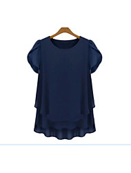 Women's Round Tops & Blouses , Chiffon Casual Short Sleeve SSHJP