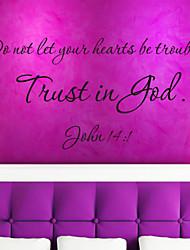 cita de etiquetas de la pared confianza es dios arrendamiento extraíble pegatinas de vinilo cotización decoración del hogar zy8198