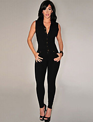 Women's Black Button Front Jumpsuit