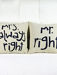 Set of 2 Mr Right Throw Pillow Case Pillowcase Sofa Home Decor Cushion Cover (16*16 inch)