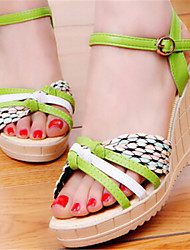 Women's Shoes Wedge Heel Open Toe Sandals Dress Blue/Green/Beige