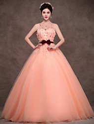 Formal Evening Dress - Orange Ball Gown Jewel Floor-length Satin/Tulle/Polyester