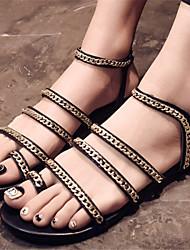 Women's Shoes Flat Heel Toe Ring Sandals Dress Black