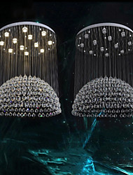 LED Pendant Lights Modern Crystal Chandeliers Clear K9 Crystal Silver Canopy Ceiling Lamps Fixtures H150CM