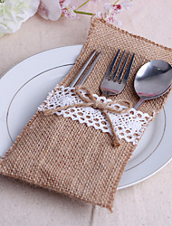 Serving Sets Wedding Cake Knife  Supplies Jute Bags Set of 10----Jute Bow