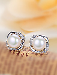 Women's Fresh-water Pearl Silver Rose Earrings With Cubic Zirconia