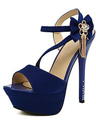 Women's Shoes Faux Suede Stiletto Heel Heels/Peep Toe/Platform Sandals Party & Evening/Dress Black/Blue