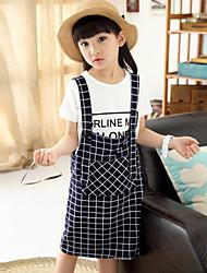 Girl's Cute Check Medium Short Sleeve Clothing Sets (Tees+ Dress)