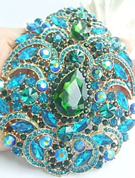 Women Accessories Gold-tone Turquoise Green Rhinestone Crystal Flower Brooch Art Deco Crystal Brooch Bouquet