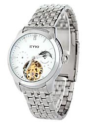 lua luxo banda de aço inoxidável dos homens EYKI fase escavar automático relógio de pulso mecânico (duas opções de cores)