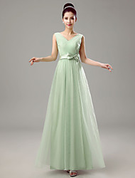 Dress Sheath / Column V-neck Floor-length Chiffon with Crystal Detailing