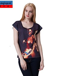 t-shirt impressão pullover de impressão preto de manga curta camisola bodycon de cmfc®women all-combinar a roupa top