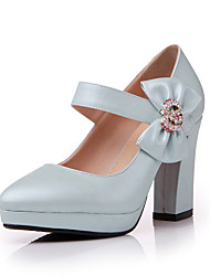 Women's Shoes  Chunky Heel Heels/Round Toe Pumps/Heels Outdoor/Office & Career/Casual Blue/Pink/White