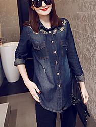 Women's Fashion Folk style Embroidery Long Sleeve Denim Shirts