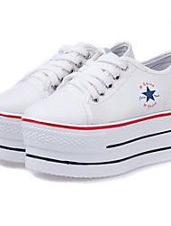 Scarpe Donna - Sneakers alla moda - Tempo libero / Casual - Zeppe / Creepers / Punta arrotondata - Zeppa - Di corda - Nero / Bianco