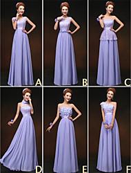 Robe de Demoiselle d'Honneur - Violet Fourreau Col U profond/Sans bretelles/Épaule asymétrique/Col montant/Col en V Longueur ras du sol