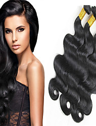 "4 Pcs/Lot 8""-24"" Peruvian Virgin Hair Natural Black Color Body Wave  Unprocessed Human Hair Weaves Hot Sale."