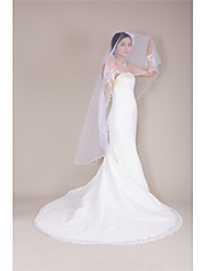 Wedding Veil One-tier Fingertip Veils Beaded Edge / Pearl Trim Edge Tulle White White / Ivory / Beige