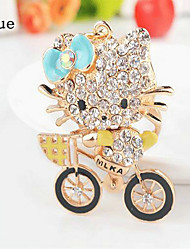 Bicycle Cat Rhinestone Wedding Keychain Favor