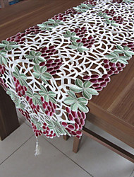 Classical White Embroidered Rectangle Tablecloths(Size: 40cmx220cm)