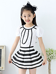 Girl's Cute Stripes Thin Short Sleeve Clothing Sets (Tees+ Skirts)