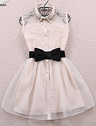 Women's Sexy Beads Embellished Micro-elastic Sleeveless Above Knee Pleat Dress with Bowknot (Organza)