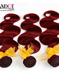 "3pcs lot 12 ""-28"" malasio virginal del cuerpo del pelo onda ondulado vino borgoña 99j roja 6a remy paquetes armadura del pelo humano"