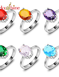 Lucky Shine Oval Blue Topaz Brazil Citrine Pink Topaz Red Quartz Crystal Gems Unisex Silver Rings