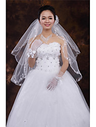 Wedding Veil Two-tier Fingertip Veils Cut Edge