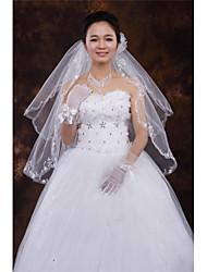 Wedding Veil Two-tier Fingertip Veils Cut Edge Tulle White White / Ivory / Beige