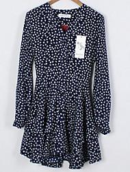 Women's Floral Waist PleatedLoose Length Dress