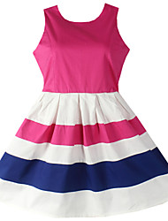 Girl's Striped Sundress Party Birthday Fashion Children Clothes Princess Dresses(100% cotton)