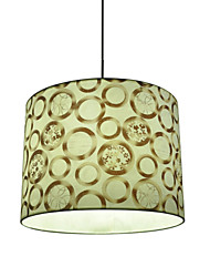 White Fabric Print Pendant Light