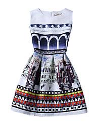 Robes ( Coton mélangé ) Vintage/Imprimé Rond à Sans manche pour Femme