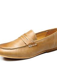 Zapatos de Hombre Boda/Oficina y Trabajo/Casual Cuero Mocasines Negro/Marrón/Hueso