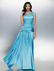 TS Couture® Formal Evening Dress Sheath / Column Jewel Floor-length Lace / Stretch Satin with Lace / Crystal Brooch / Ruching