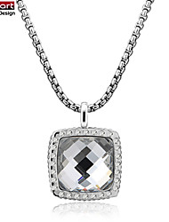 316L Stainless Steel Clear Crystal Pendant with CZ Stones Set With Steel Chain Necklace for Women