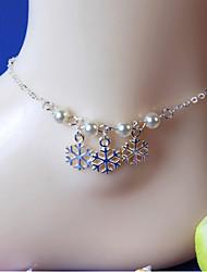 mulheres moda jóias corpo da praia do verão borlas liga ocasional do vintage neve pérola tornozeleiras