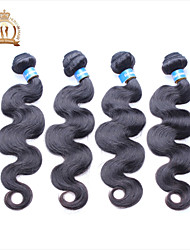 "4Pcs Lot 12-26"" Unprocessed Eurasian Virgin Hair Body Wave Wavy Curly Natural Black Remy Human Hair Weave/Wefts"