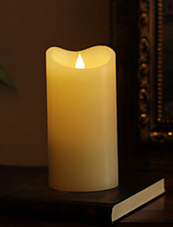SIMPLUX™ 3.75*7.5 inch Moving Wick Flameless Real Wax LED Pillar Candle Light With Timer,Battery-Operated,Ivory