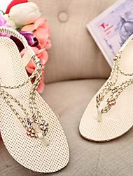 BWomen's Shoes  Flat Heel Flip Flops/Comfort Sandals Outdoor/Office & Career/Dress lack/Brown/White
