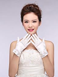 Bridal Gloves Elastic Satin Wrist Length Wedding/Party Bowknot Glove White