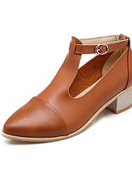 Women's Shoes Chunky Heel Heels/Pointed Toe Pumps/Heels Dress Black/Brown/Silver/Beige