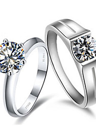 Couple Rings Sterling Silver His and Her Jewelry 2CT SONA Simulate Diamond Ring for Lovers Genuine Brand Platinum Plated