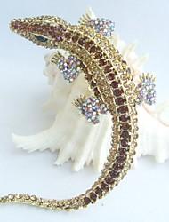 Women Accessories Gold-tone Topaz Rhinestone Crystal Alligator Crocodile Brooch Art Deco Crystal Brooch Women Jewelry