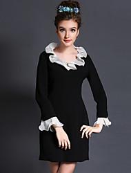 2015 new large size women Ruffle Lapel skinny dress black princess skirt Women's CLOTHING