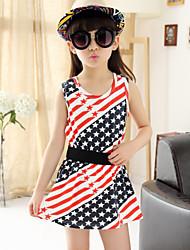 Girl's Summer Stripes Star Print Medium Sleeveless Dresses (Cotton)